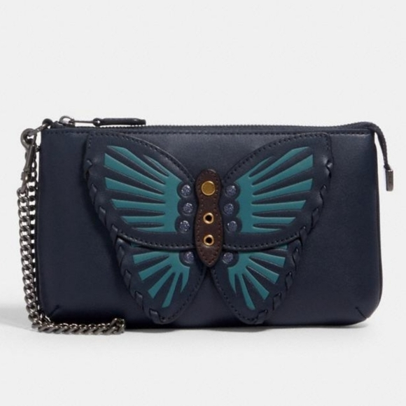 "Coach ""LE"" Large Wristlet With Butterfly Applique"